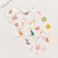 婴儿内衣套装薄款夏季棉短袖开衫儿童空调服男女宝宝纱布睡衣