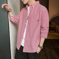 纯色男士衬衫2020春季新款长袖衬衫休闲牛津纺衬衣