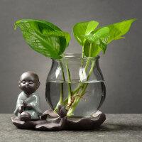 桌面装饰摆件创意绿萝水培植物玻璃透明养花花瓶插花容器花盆器皿
