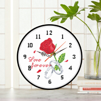 餐厅挂钟线绣小件自己绣十字绣钟表新款小幅简单绣花卉玫瑰花简单