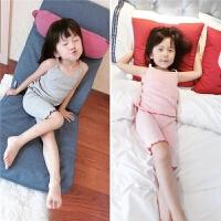 夏季女童纯棉居家服套装婴儿宝宝吊带背心睡衣两件套空调服