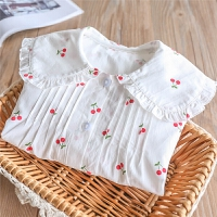 甜美女童衬衫纯棉2018韩版儿童翻领樱桃长袖打底衫公主衬衣娃娃衫