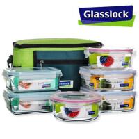 三光云彩GLASSLOCK玻璃饭盒微波炉专用保鲜盒保温套装六件套GL37