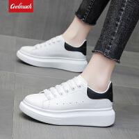 【新品抢鲜】Coolmuch女板鞋轻便百搭镂空透气小白鞋校园女生平底休闲板鞋KMJ03