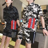 情侣短袖T恤短裤两件套韩版潮流港风大码夏季薄款男士套装