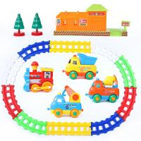 儿童拼装电动轨道车玩具套装火车小汽车益智宝宝1-3-5岁男孩卡通 卡通工程车轨道
