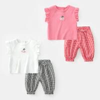 女童套装夏季儿童无袖背心婴幼儿上衣小童衣服宝宝夏装两件套