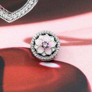Pandora/潘多拉17春 粉色木兰花925银珐琅串珠792085PCZ