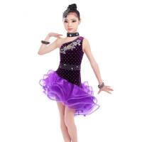 拉丁舞裙儿童新款恰恰舞蹈服装演出服比赛专业蓬蓬裙女伦巴表演服