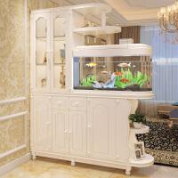 欧式客厅带鱼缸玄关柜隔断柜门厅柜屏风鱼缸酒柜双面鞋柜装饰柜 M款长1.8米 象牙白 组装 框架结构