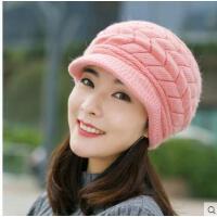 帽子女韩版潮时尚兔毛帽女士保暖加绒针织毛线帽中年帽