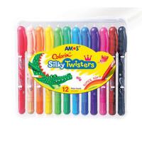 AMOS韩国蜡笔可水洗宝宝画笔幼儿旋转彩色画笔油画棒年会装扮万圣节无毒蜡笔
