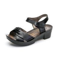 2017新款夏季妈妈凉鞋真皮坡跟中年女凉鞋中老年女凉鞋女鞋老人鞋