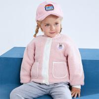 小猪班纳爱宠大机密IP款童装女童棉服宝宝摇粒绒外套双面可穿