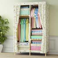 【满减优惠】衣柜布衣柜牛津布实木现代经济单人双人组装衣橱折叠收纳简易衣柜