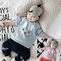 秋冬婴儿加绒上衣 新生宝宝保暖上衣绣花冬装 0-3-6-9-12个月新款