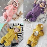男宝宝衣服女幼儿两件套6加厚秋冬套装婴儿冬装外出服3个月连体衣