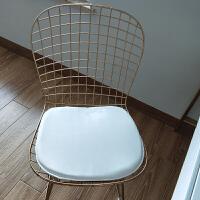 北欧镂空铁丝椅现代简约铁艺网格椅餐椅靠背椅子 金色+白坐垫