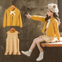 女童毛衣套装春秋裙潮超洋气时髦中大童装两件套