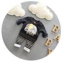 婴儿套装衣服秋冬季纯棉抓绒加厚男女宝宝两件套0-1-2周岁潮