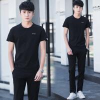 休闲套装男夏季2018新款韩版短袖T恤两件套潮流夏装帅气一套衣服