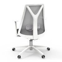 黑白调电脑椅家用办公椅座椅书房椅子靠背升降椅舒适久坐工学椅 白色 尼龙脚 固定扶手