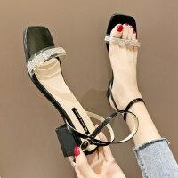 户外水钻透明一字带女士凉鞋百搭女鞋粗跟方头配裙子的鞋