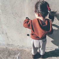 女童针织卫衣儿童加厚打底韩版上衣女宝宝连帽针织外套
