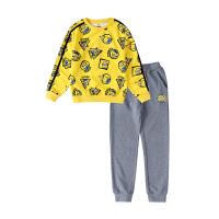小猪班纳童装男女童冬季2018新款套装儿童套头长袖裤子两件套中性