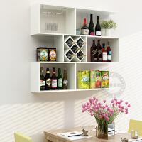 悬挂式酒架酒柜墙上置物架餐厅吧台实木简约壁挂墙壁装饰架 1米长(5格)暖白色 配送两个酒杯架
