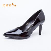 红蜻蜓女鞋春秋季新款百搭工作鞋女韩版尖头浅口皮面细跟单鞋