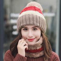 女士时尚帽子围脖保暖套装 新款加绒护耳帽潮 韩版可爱骑车帽女 户外保暖加厚帽子