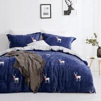御棉堂法兰绒四件套 珊瑚绒加厚保暖床上用品 超柔加厚 法莱绒床单被套 毯子 毛毯