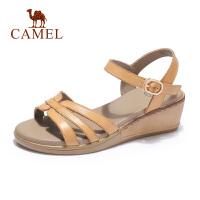 camel骆驼2019夏季新款牛皮女鞋中跟妈妈凉鞋女夏平底坡跟简约百搭森女