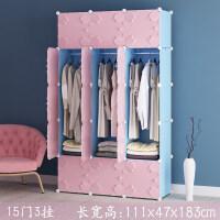 简易衣柜简约现代经济型组装组合家用塑料布宿舍小衣橱收纳挂衣柜 6门以上 组装