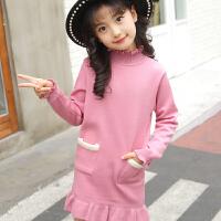 女童中长款毛衣套头加绒加厚秋冬季中大童女孩高领线衣打底衫童装