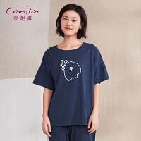 【便服】康妮雅女士睡衣夏季套装简约印花短袖长裤家居服