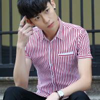 夏季男士短袖衬衫2018新款韩版青年修身型男装休闲寸衬衣