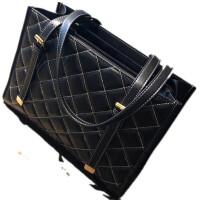 包包女2018新款欧美时尚女包车缝线大容量单肩包手提包菱格大包潮 黑色 收藏送丝巾