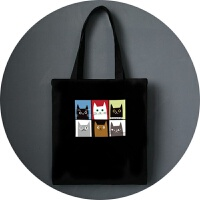 帆布包女单肩日韩文艺森系学生书包手提环保购物袋简约百搭小清新 玫红色 格子猫咪黑色