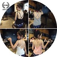 定制童装 女童背心夏装2017新款 韩版纯色百搭交叉带吊带T恤