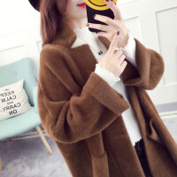 开衫外套女中长款加厚韩版秋冬款2017新款仿貂毛毛衣大衣