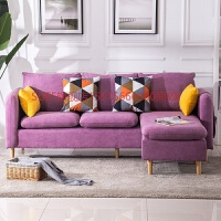 沙发客厅整装创意懒人沙发单人双人布艺小户型沙发三人转角沙发床 三人位+脚踏