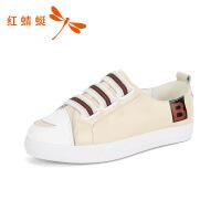 红蜻蜓女鞋小白鞋女春款板鞋圆头低跟百搭单鞋舒适女休闲鞋