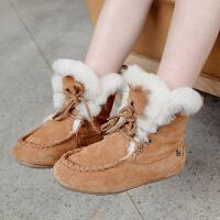 女童羊毛雪地靴2017冬装新款童装儿童皮毛一体翻毛低筒系带短靴潮