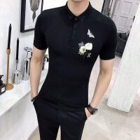 夏季 新款自制蝶恋花刺绣粒扣半袖体恤男式翻领T恤短袖POLO衫