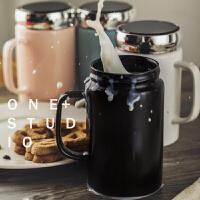 简约陶瓷杯子家用茶杯情侣水杯大容量马克杯带盖咖啡杯牛奶早餐杯