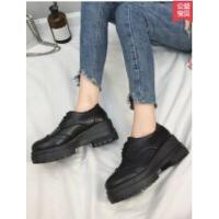 女鞋新款松糕厚底韩版学生百搭英伦风复古zipper小皮鞋子