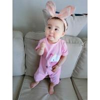 婴儿连体衣服宝宝季婴装哈衣新生儿睡衣短袖03个月新年