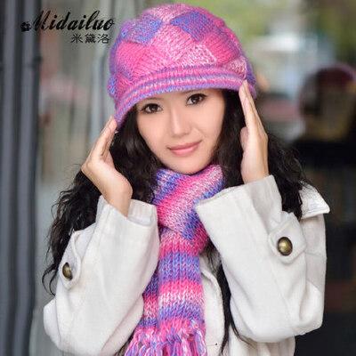 帽子女毛线帽冬天帽子女士帽子羊毛帽围巾两件套时尚女帽 品质保证 售后无忧